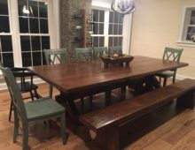 Pine Dining Table Set – Stained